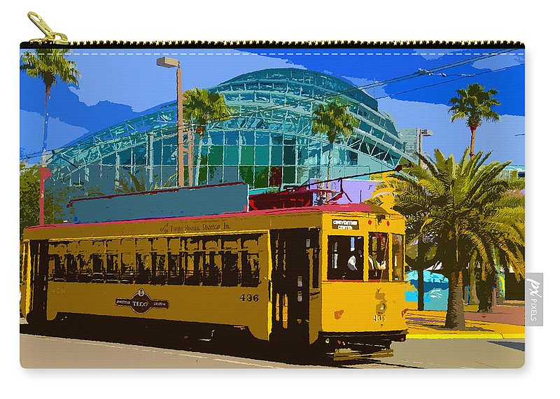 Tampa Carry-all Pouch featuring the painting Tampa Trolley by David Lee Thompson