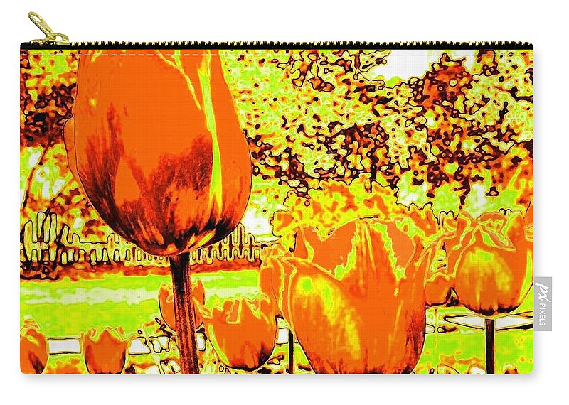 Tulips Carry-all Pouch featuring the photograph Tangerine Tulips by Will Borden