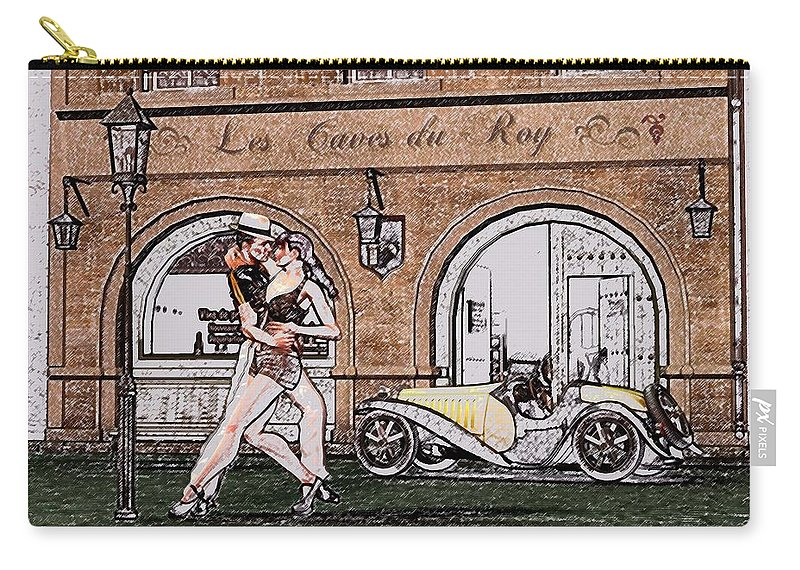 Tango Carry-all Pouch featuring the digital art Tango Dancers In The Street by John Junek