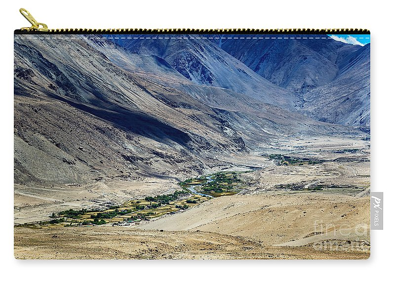 Tangsey Carry-all Pouch featuring the photograph Tangsey Village Landscape Of Leh Ladakh Jammu And Kashmir India by Rudra Narayan Mitra