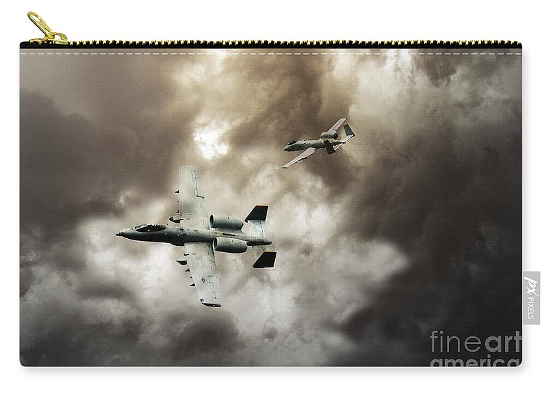 A10 Thunderbolt Ii Carry-all Pouch featuring the digital art Tank Busters by J Biggadike
