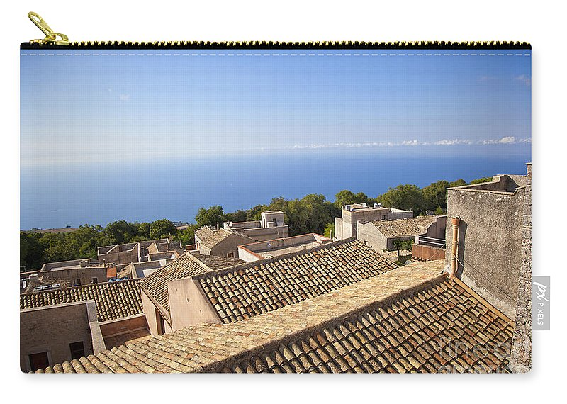 Rooftops Carry-all Pouch featuring the photograph Taormina Rooftops by Madeline Ellis