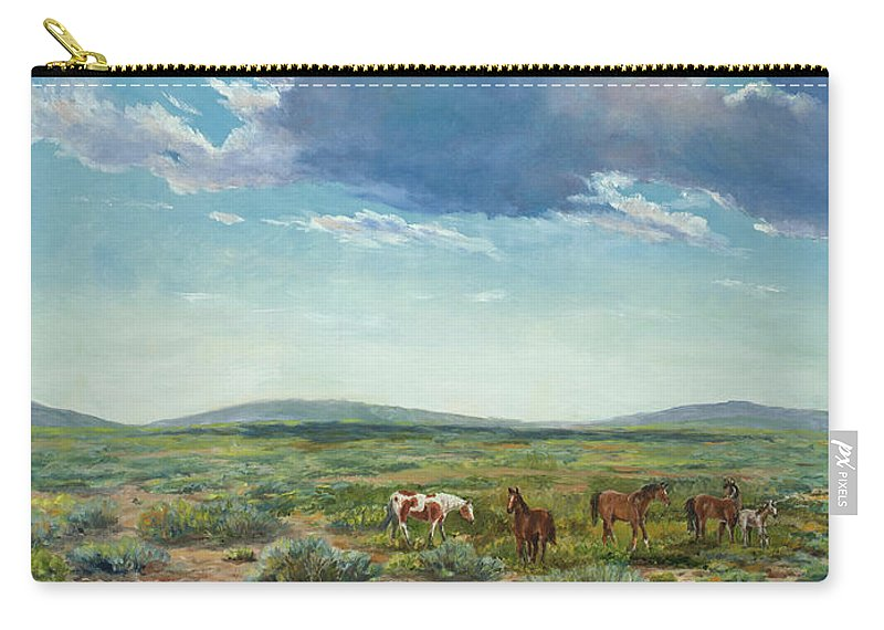 Sky Carry-all Pouch featuring the painting Taos Mustangs by Ken Pieper