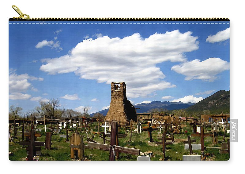 Taos Carry-all Pouch featuring the photograph Taos Pueblo Cemetery by Kurt Van Wagner