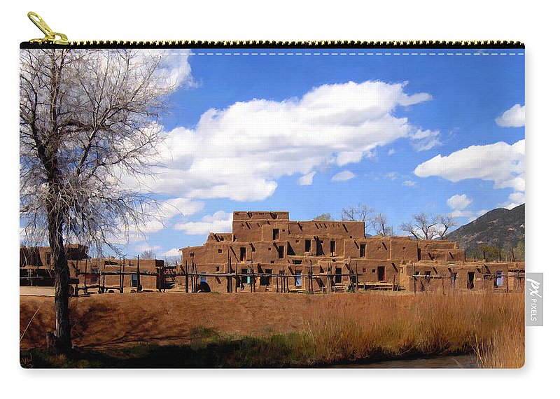 Taos Carry-all Pouch featuring the photograph Taos Pueblo Early Spring by Kurt Van Wagner