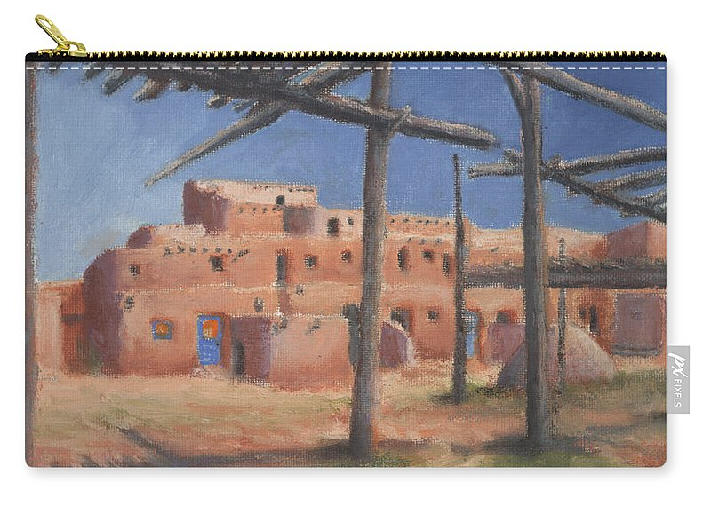 Taos Carry-all Pouch featuring the painting Taos Pueblo by Jerry McElroy