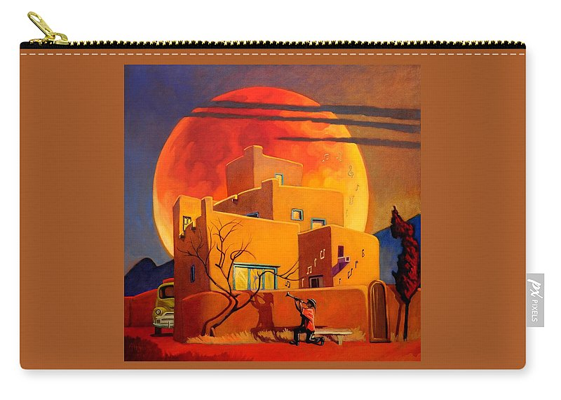 Rare Carry-all Pouch featuring the painting Taos Wolf Moon by Art West