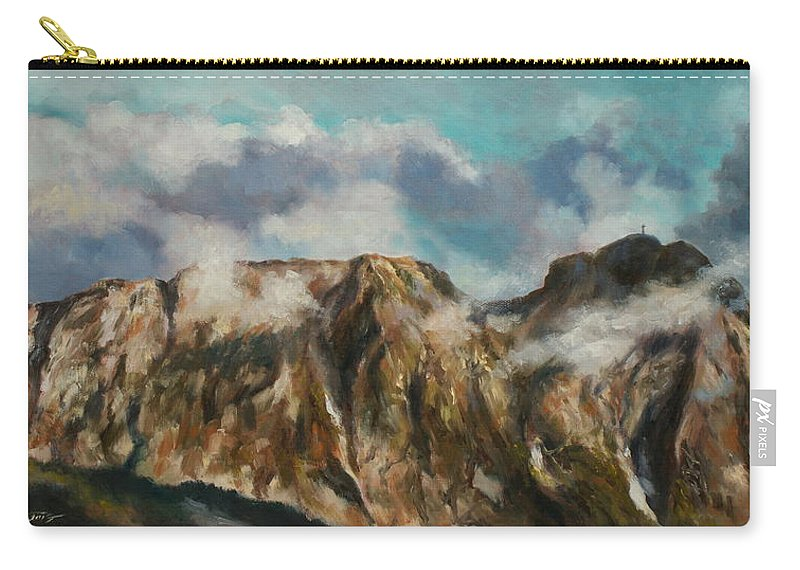 Tatry Carry-all Pouch featuring the painting Tatry Mountains- Giewont by Luke Karcz