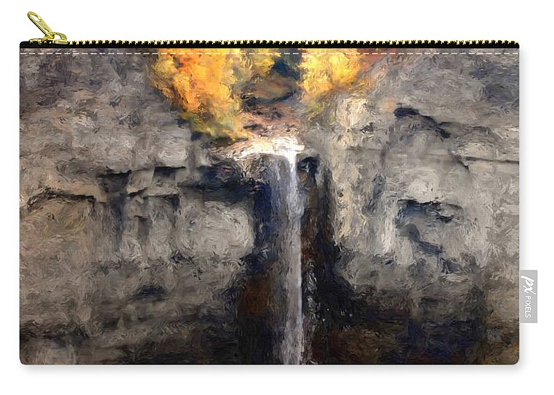 Taughannock Falls Carry-all Pouch featuring the photograph Taughannock Falls by David Lane