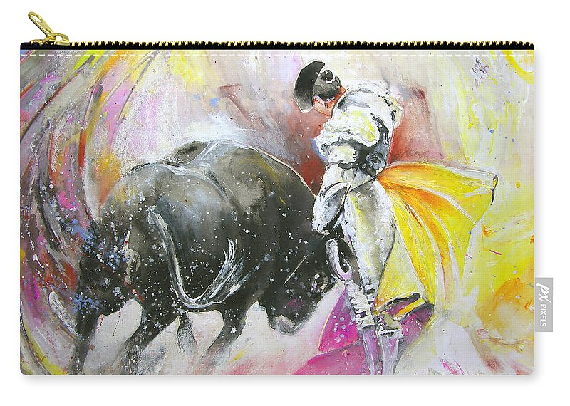 Animals Carry-all Pouch featuring the painting Taurean Power by Miki De Goodaboom