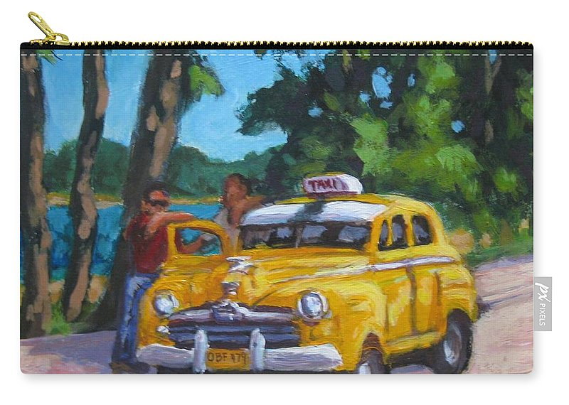 Old Cars Carry-all Pouch featuring the painting Taxi Y Amigos by John Malone