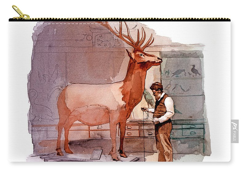 Taxidermy Carry-all Pouch featuring the painting Taxidermist by David Lloyd Glover