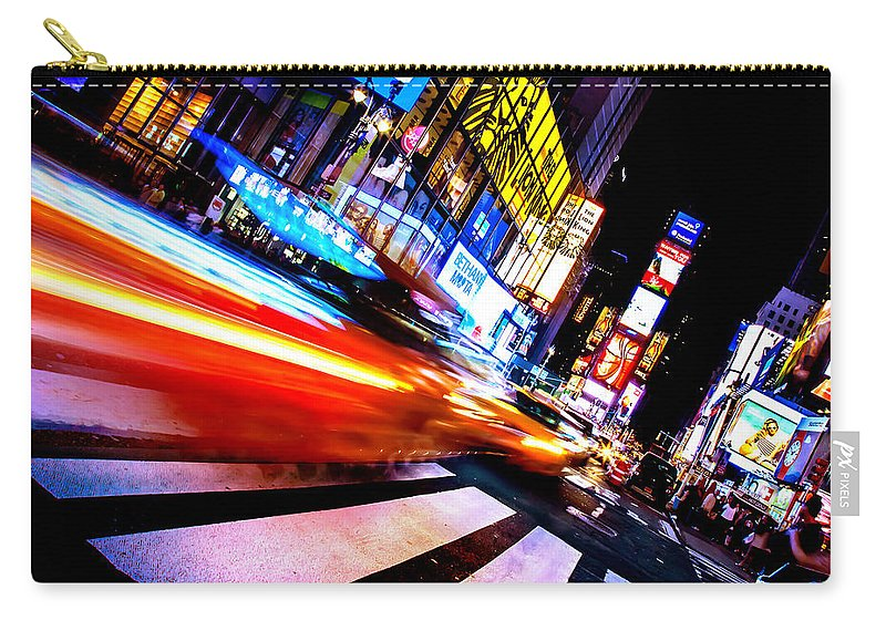 Times Square Carry-all Pouch featuring the photograph Taxis In Times Square by Az Jackson
