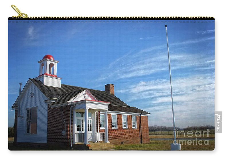 Scenic Tours Carry-all Pouch featuring the photograph Taylor Bridge School by Skip Willits