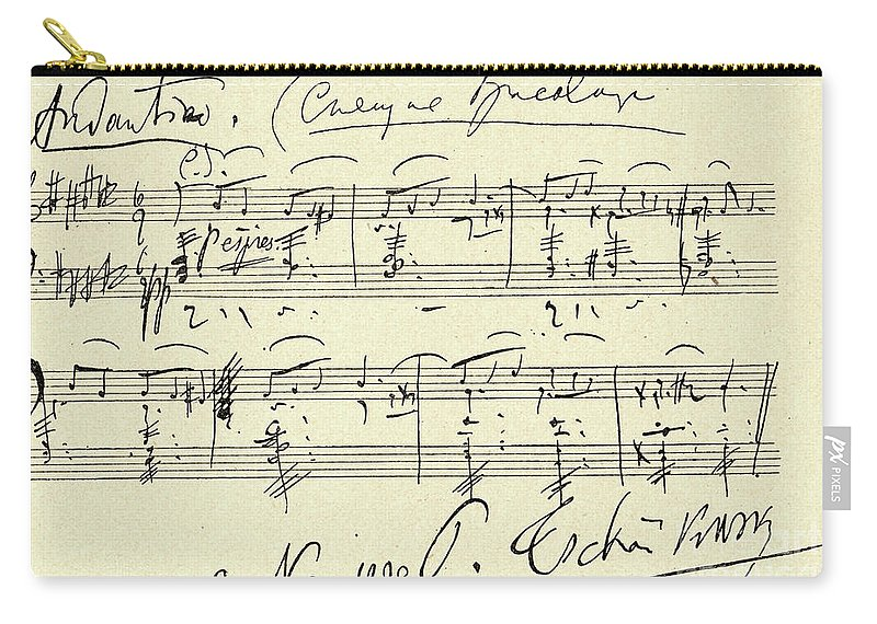 Tchaikovsky Carry-all Pouch featuring the drawing Tchaikovsky Autographed Score by Tchaikovsky
