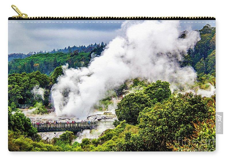 Carry-all Pouch featuring the photograph Te Whakarewarewa by Roberta Bragan