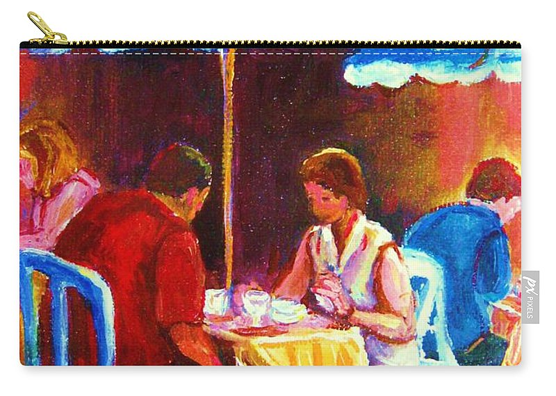 St. Denis Outdoor Cafe Montreal Street Scenes Carry-all Pouch featuring the painting Tea For Two by Carole Spandau