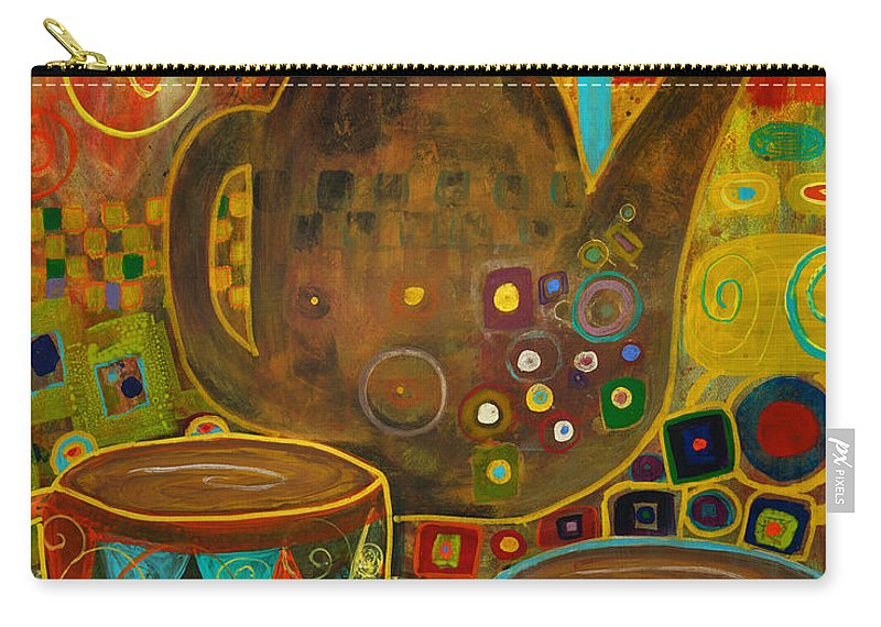 Klimt Carry-all Pouch featuring the painting Tea Party With Klimt by Robin Maria Pedrero