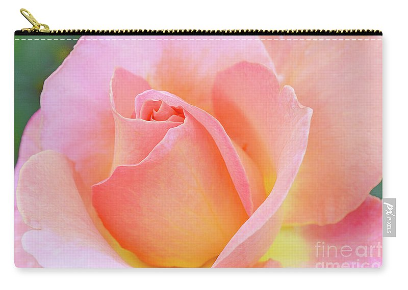 Pink Rose Carry-all Pouch featuring the photograph Tea Rose-elle by Regina Geoghan