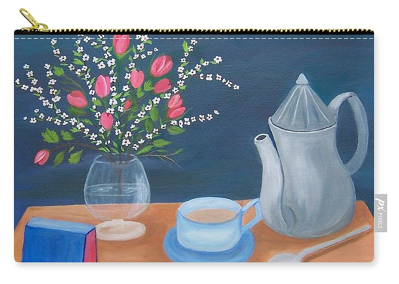 Still Life Carry-all Pouch featuring the painting Tea Time by Ruth Housley