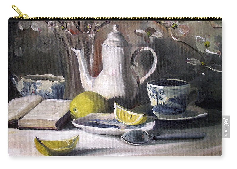 Lemon Carry-all Pouch featuring the painting Tea With Lemon by Nancy Griswold