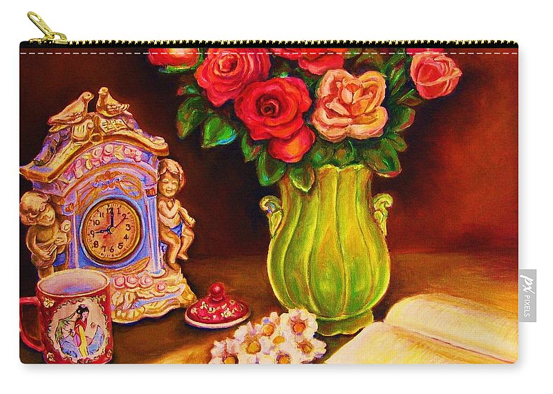 Impressionism Carry-all Pouch featuring the painting Teacup And Roses by Carole Spandau