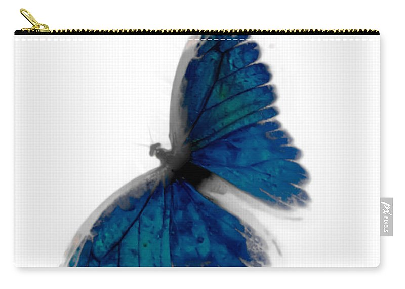 Butterfly Carry-all Pouch featuring the photograph Butterfly Blur In Teal Blues by Heather Joyce Morrill