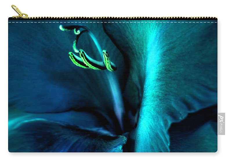 Gladiola Carry-all Pouch featuring the photograph Teal Gladiola Flower by Jennie Marie Schell