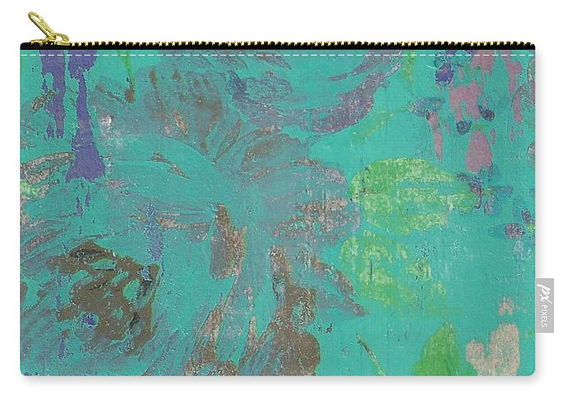 Floral Carry-all Pouch featuring the mixed media Teal Spring by Anna Caples