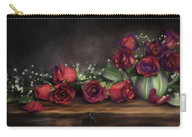 Digital Painting Carry-all Pouch featuring the digital art Teapot Roses by Susan Kinney
