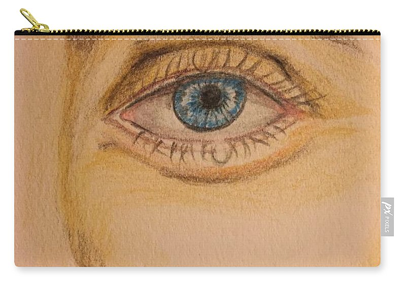 Color Pencil Drawing Carry-all Pouch featuring the painting Tear Drop by Brindha Naveen