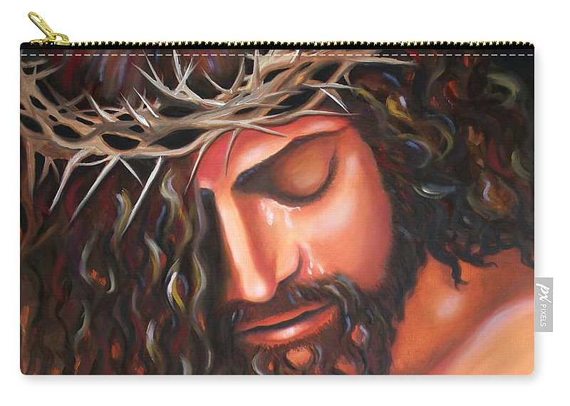 Crown Of Thorns Carry-all Pouch featuring the painting Tears From The Crown Of Thorns by Lora Duguay