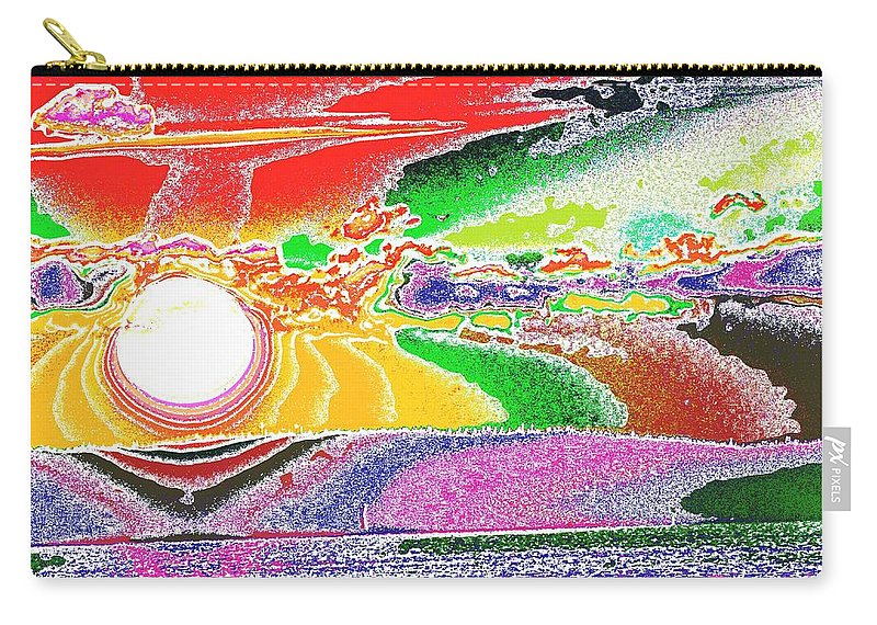 Sunset Carry-all Pouch featuring the digital art Technicolor Sunset by Tim Allen