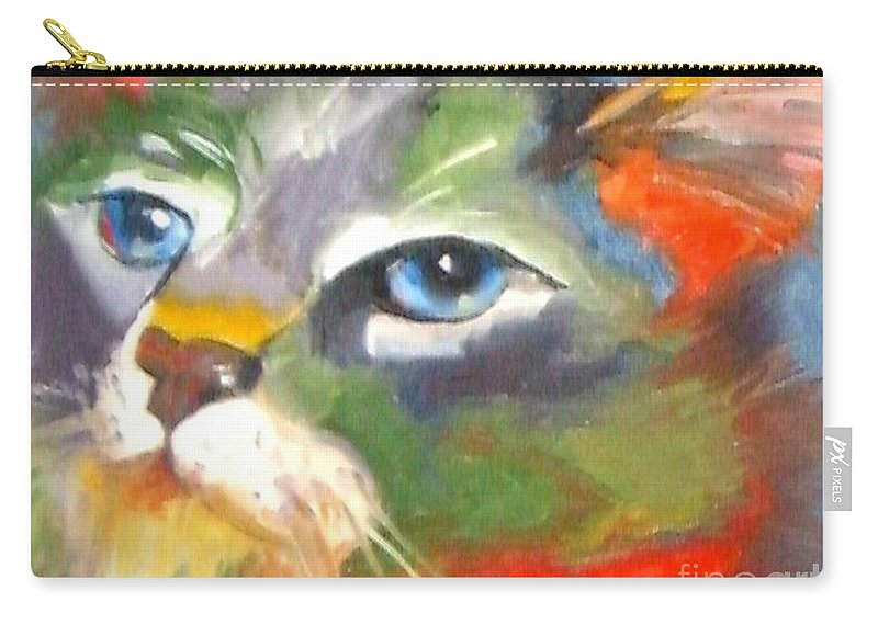 Cat Carry-all Pouch featuring the painting Technicolor Tabby by Susan A Becker