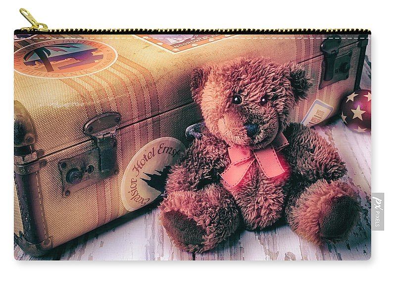 Teddy Bear Carry-all Pouch featuring the photograph Teddy Bear And Suitcase by Garry Gay