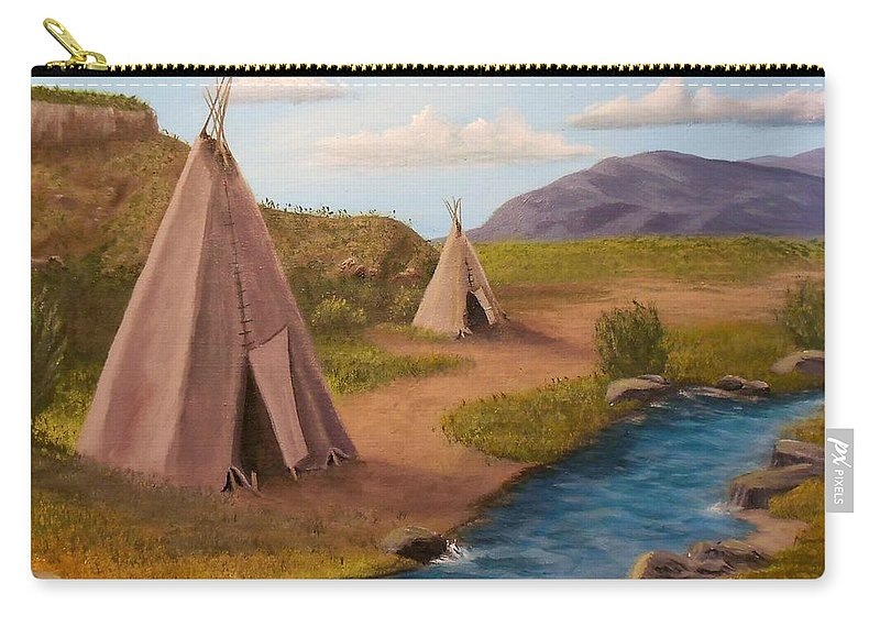 Teepee Carry-all Pouch featuring the painting Teepees On The Plains by Sheri Keith
