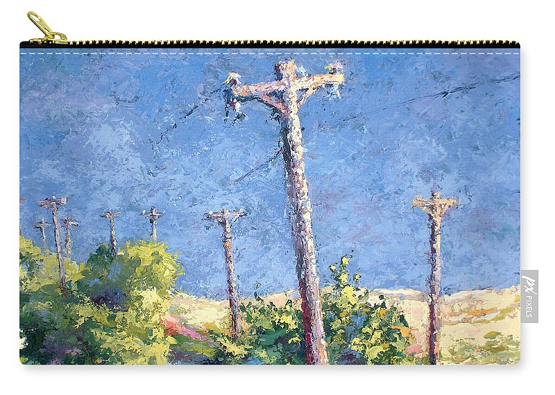Landscape Painting Carry-all Pouch featuring the painting Telephone Poles Before The Rain by Lewis Bowman