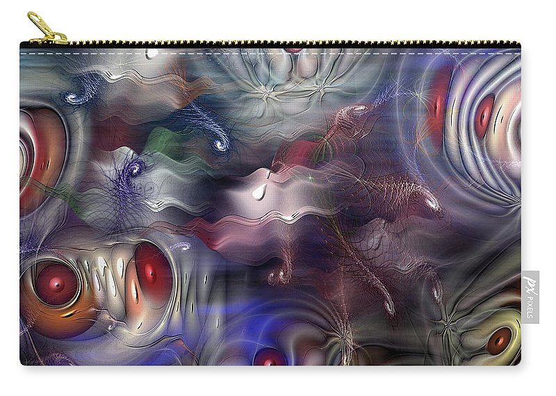 Abstract Carry-all Pouch featuring the digital art Televisia by Casey Kotas
