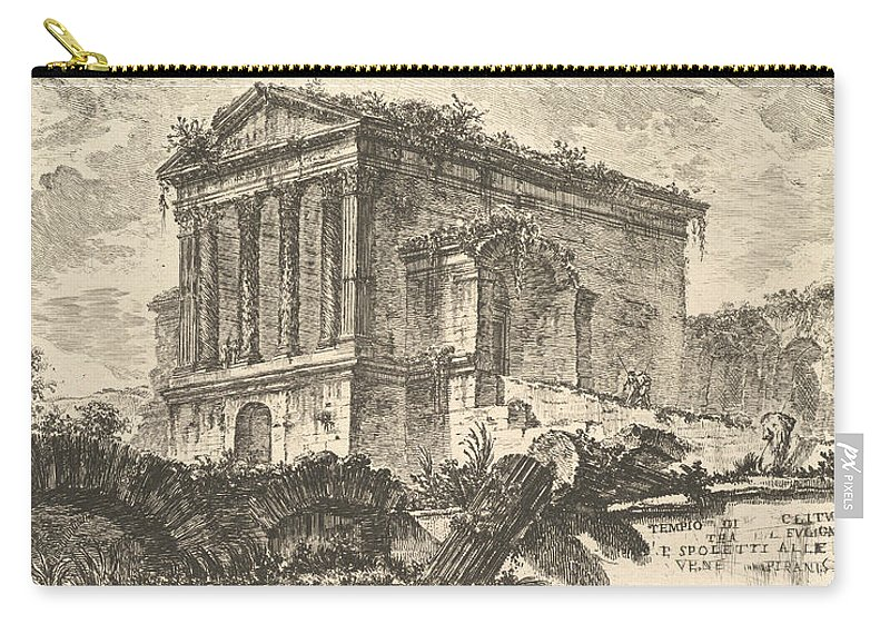 18th Century Art Carry-all Pouch featuring the relief Temple Of Clitumnus Between Foligno And Spoleto by Giovanni Battista Piranesi