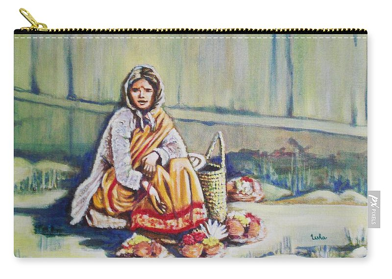 Usha Carry-all Pouch featuring the painting Temple-side Vendor by Usha Shantharam