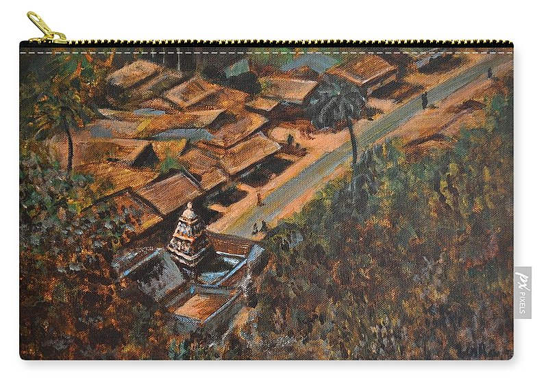 Temple Carry-all Pouch featuring the painting Temple Town by Usha Shantharam