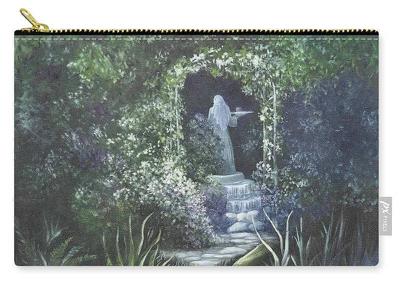 Mystery Carry-all Pouch featuring the painting Temptation Coming. by Penny Neimiller