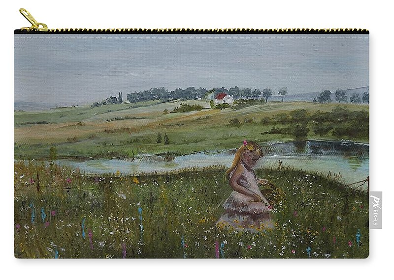 Impression Carry-all Pouch featuring the painting Tender Blossom - Lmj by Ruth Kamenev