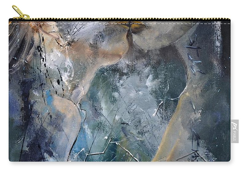 Nude Carry-all Pouch featuring the painting Tender Kiss by Pol Ledent