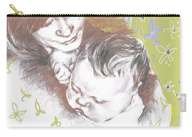 Portrait Carry-all Pouch featuring the painting Tenderness in green by Sarah Madsen