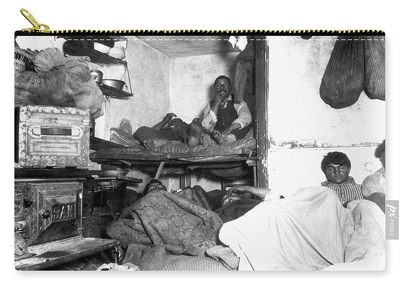 1889 Carry-all Pouch featuring the photograph Tenement Life, Nyc, C1889 by Granger