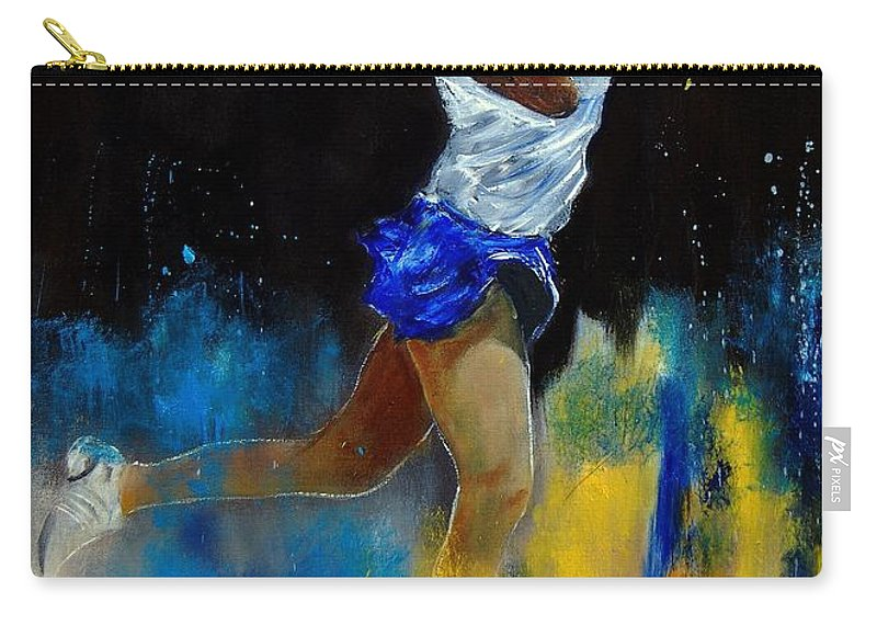 Sports Carry-all Pouch featuring the painting Tenniswoman 57 by Pol Ledent