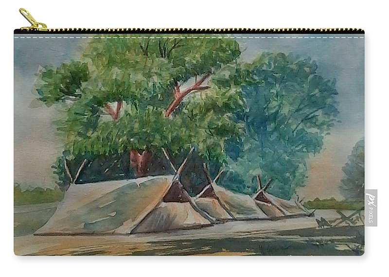 Trees Carry-all Pouch featuring the painting Tents Under Tree by Ajay Anand