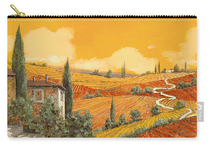 Tuscany Carry-all Pouch featuring the painting terra di Siena by Guido Borelli