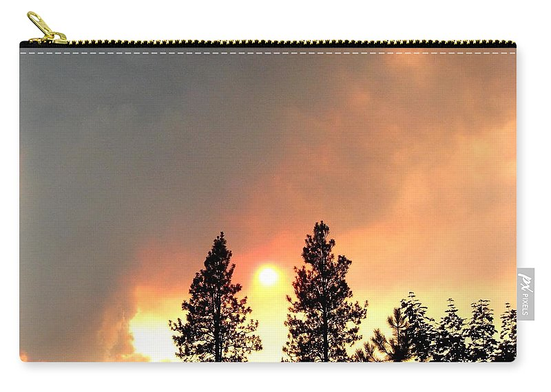 Forest Fire Carry-all Pouch featuring the photograph Terrace Mountain Fire 2 by Will Borden